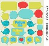 blue birds with speech bubbles   Shutterstock .eps vector #99007121