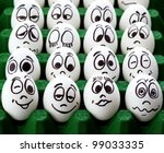 White easter eggs and funny faces - stock photo