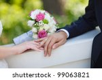bouquet and wedding rings of... | Shutterstock . vector #99063821