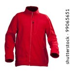 Red Male Fleece Jacket Isolate...