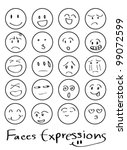 Set Of Doodled Cartoon Faces I...