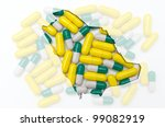 Outline saudi arabia map with transparent background of capsules symbolizing pharmacy and medicine - stock photo