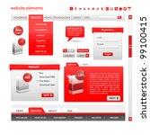 web design frame vector. red set