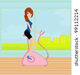 girl on the exercise bike | Shutterstock .eps vector #99112214