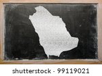drawing of saudi arabia on blackboard, drawn by chalk - stock photo