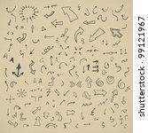 vector hand drawn arrows set on ... | Shutterstock .eps vector #99121967