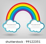 poster template. clouds and rainbow - stock vector