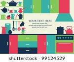 graphic kitchen interior card.... | Shutterstock .eps vector #99124529