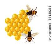 honeycombs with honey bees | Shutterstock .eps vector #99130295