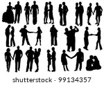 silhouettes of falling in love. ... | Shutterstock .eps vector #99134357