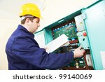 one electrician builder at work ... | Shutterstock . vector #99140069