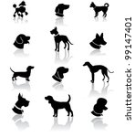Dog Silhouette Icon Symbol Set...