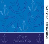 """Hand drawn anchor """"Happy Father's Day"""" card in vector format. - stock vector"""