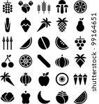 fruits and vegetables icons | Shutterstock .eps vector #99164651