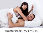 young couple gets caught while... | Shutterstock . vector #99174041