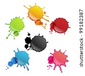 colorful ink splats | Shutterstock .eps vector #99182387