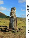 Ancient stone statues called moai, on Easter Island in the South Pacific - stock photo