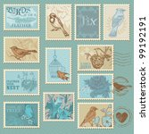 retro bird postage stamps   for ... | Shutterstock .eps vector #99192191