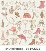 Ladies Fashion and Accessories doodle collection - hand drawn in vector