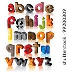 colorful 3d alphabet font...   Shutterstock .eps vector #99200309