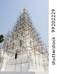 The repairing of famous pagoda in Thailand, Chedi-Liam, Chaing Mai province, north of Thailand - stock photo