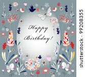 flower greeting card | Shutterstock .eps vector #99208355