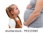 Selfish child crying for not wanting a sibling - isolated - stock photo