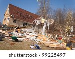 a home heavily damaged by an f2 ... | Shutterstock . vector #99225497