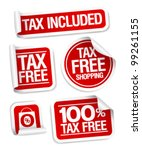 tax free shopping stickers set. | Shutterstock .eps vector #99261155