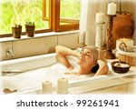 Woman Taking Bath  Happy Femal...