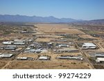 Aerial view of Industrial Park, freeway and future Outlet Mall site - stock photo