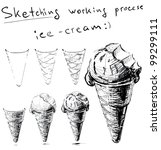 ice cream in cone. sketching... | Shutterstock .eps vector #99299111