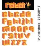 3d robot square font alphabet...   Shutterstock .eps vector #99308945