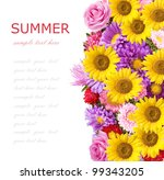 roses  asters and sunflowers... | Shutterstock . vector #99343205