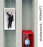 different man on 3d elevator | Shutterstock . vector #99344477