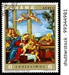PANAMA - CIRCA 1969: A stamp printed in Panama shows Holy Kinship with angels artist Francesco Albani, circa 1969 - stock photo