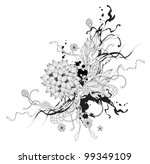 Vector abstract graphic with flowers black and white
