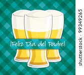 """Spanish """"Happy Father's Day"""" beer card in vector format. - stock vector"""