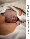 newborn baby on his mothers... | Shutterstock . vector #99349961
