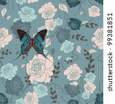 roses and butterflies on a... | Shutterstock .eps vector #99381851
