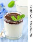 Italian dairy dessert Panacotta in a glass beaker - stock photo