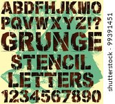 a set of grunge stencil letters | Shutterstock .eps vector #99391451