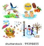 the four seasons | Shutterstock .eps vector #99398855