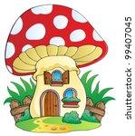 Cartoon Mushroom House   Vecto...