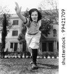 young woman in baseball uniform ... | Shutterstock . vector #99421709