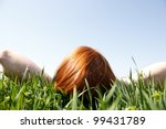 red haired woman laying in... | Shutterstock . vector #99431789