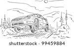vector   rally car jumping  ... | Shutterstock .eps vector #99459884