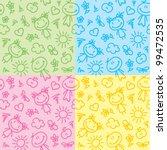 hand drawn seamless patterns... | Shutterstock .eps vector #99472535