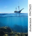 sail boat in tropical calm sea... | Shutterstock . vector #99475625