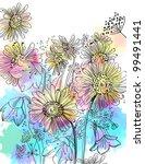 romantic colorful flower... | Shutterstock . vector #99491441